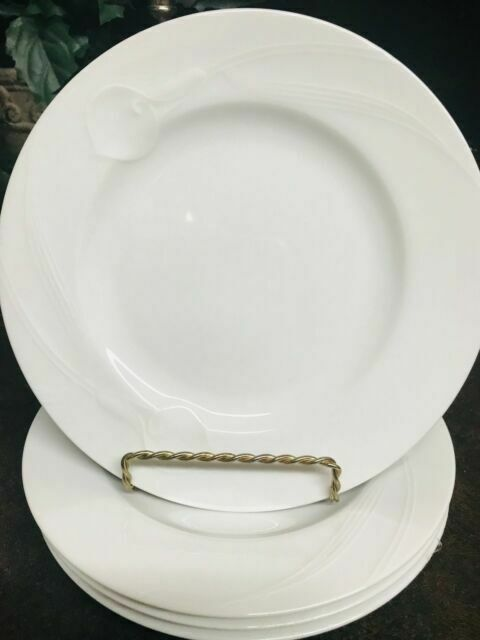 "Set Of 4 Mikasa Classic Flair White Salad Plates 8/"" Calla Lilly VGC"