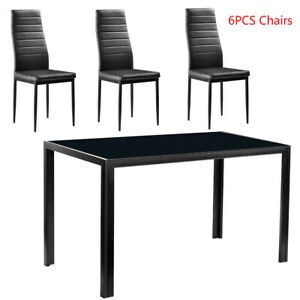 7-Piece-Dining-Table-Set-for-6-Chairs-Clear-Glass-Metal-Kitchen-Room-Breakfast