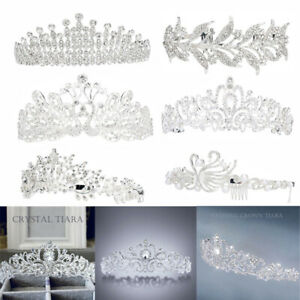 6-Style-Wedding-Bridal-Princess-Crystal-Hair-Tiara-Crown-Veil-Headband-w-Comb