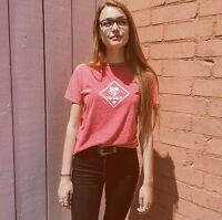 Brandy Melville Cub Scouts Wolf Red Wash Ringer T Shirt Top Full Length