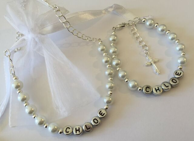 Girls personalised name bracelet and necklace set - first holy communion gift