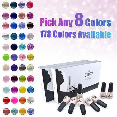 Pick Any 8 Colours Gift Set Soak Off Gel Nail Polish Top Base Coat 8pcs New