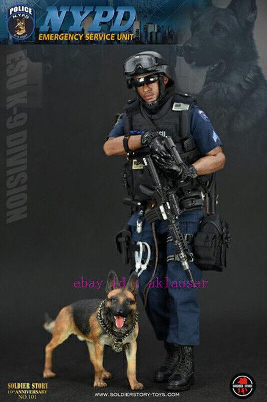 1//6 Scale Soldier Story Figures Police ESU K9 Unit German Shepherd Dog