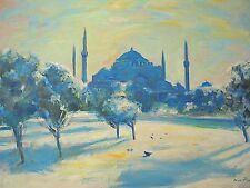 American Nino Pippa Orientalist Painting of Istanbul Hagia Sophia in the Snow