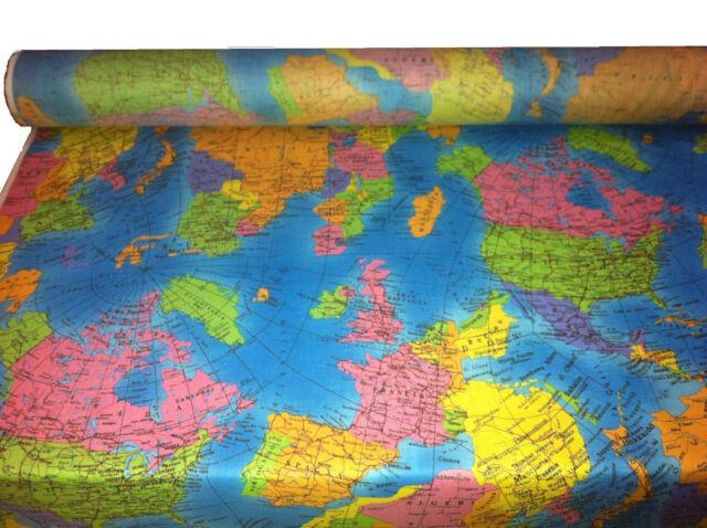 GLOBE World Map Cotton Poplin Fabric atlas fabric Material *136cm wide Blue