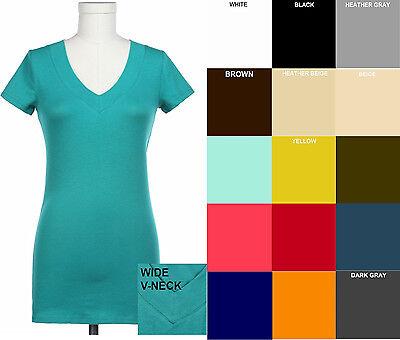 Zenana T SHIRT Short Sleeve Basic Wide Band V Neck S/M/L FREE SHIP