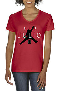 new style 3a0ae 6e9aa Details about RED Women's V-Neck Julio Jones Atlanta Falcons