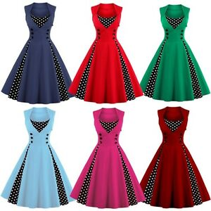 Plus-Size-Women-50s-Vintage-Retro-Polka-Dot-Evening-Party-Rockabilly-Swing-Dress