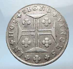 1812-PORTUGAL-Silver-400-REIS-Cross-Coat-of-Arms-Vintage-Portuguese-Coin-i73746