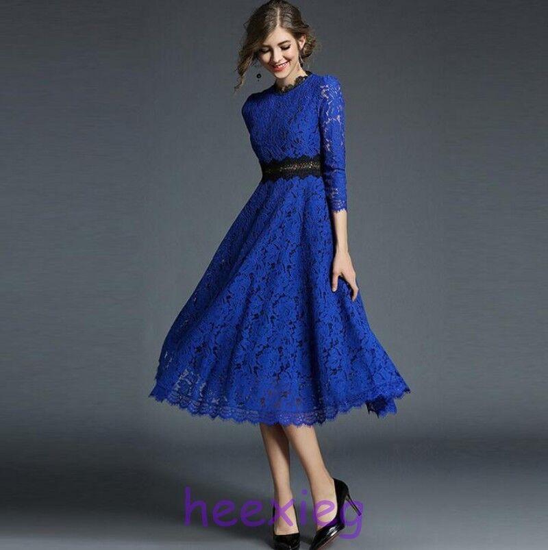 Frühling Damen Lace Splicing Kleid Dreiviertelarm Ballkleid Lang A-Linien-Kleid