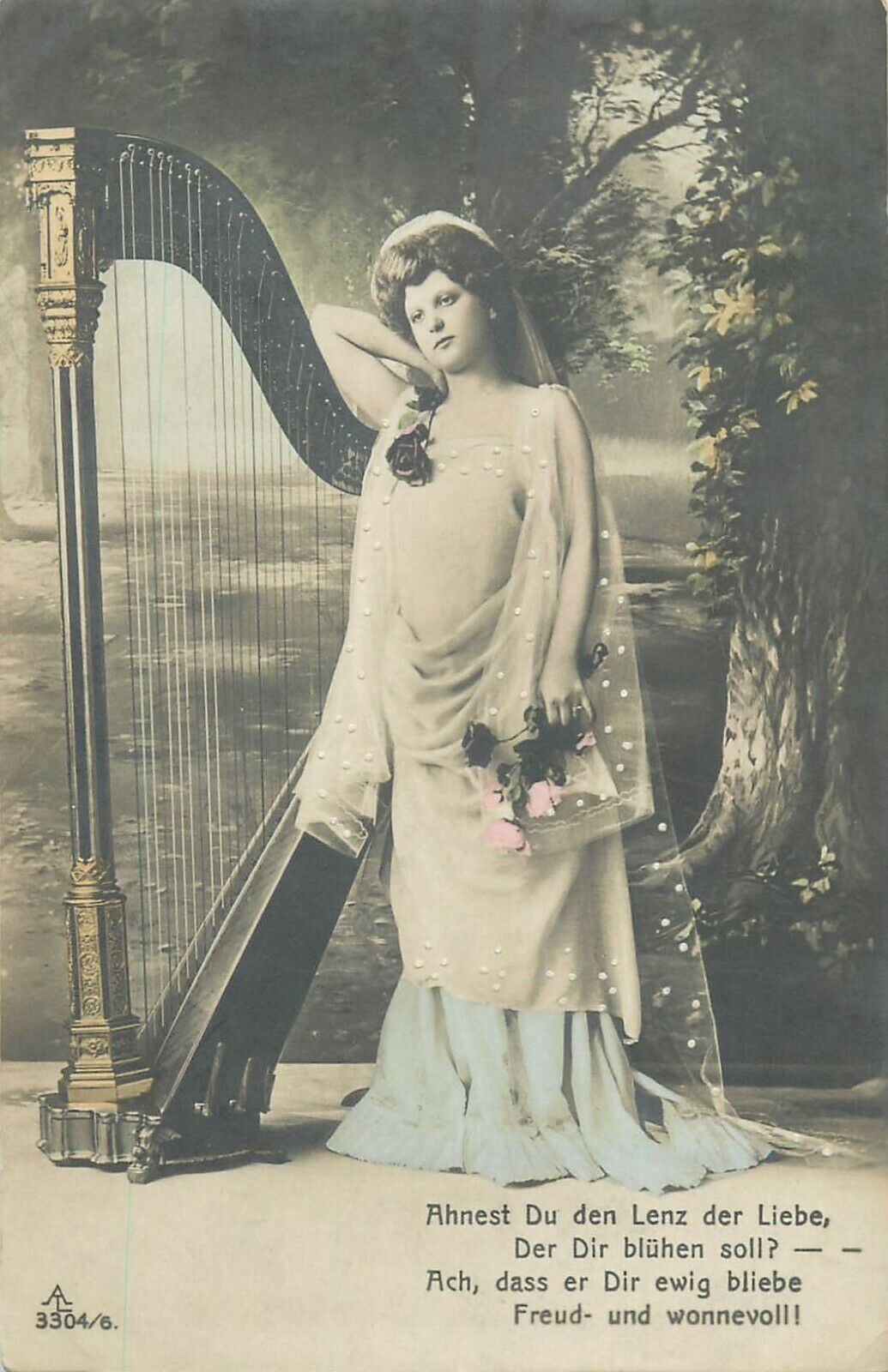 Glamour lady & harp early postcard