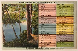 Petoskey-Michigan-MI-Busy-Person-039-s-Correspondence-Card-Postcard-Jul-23-1940