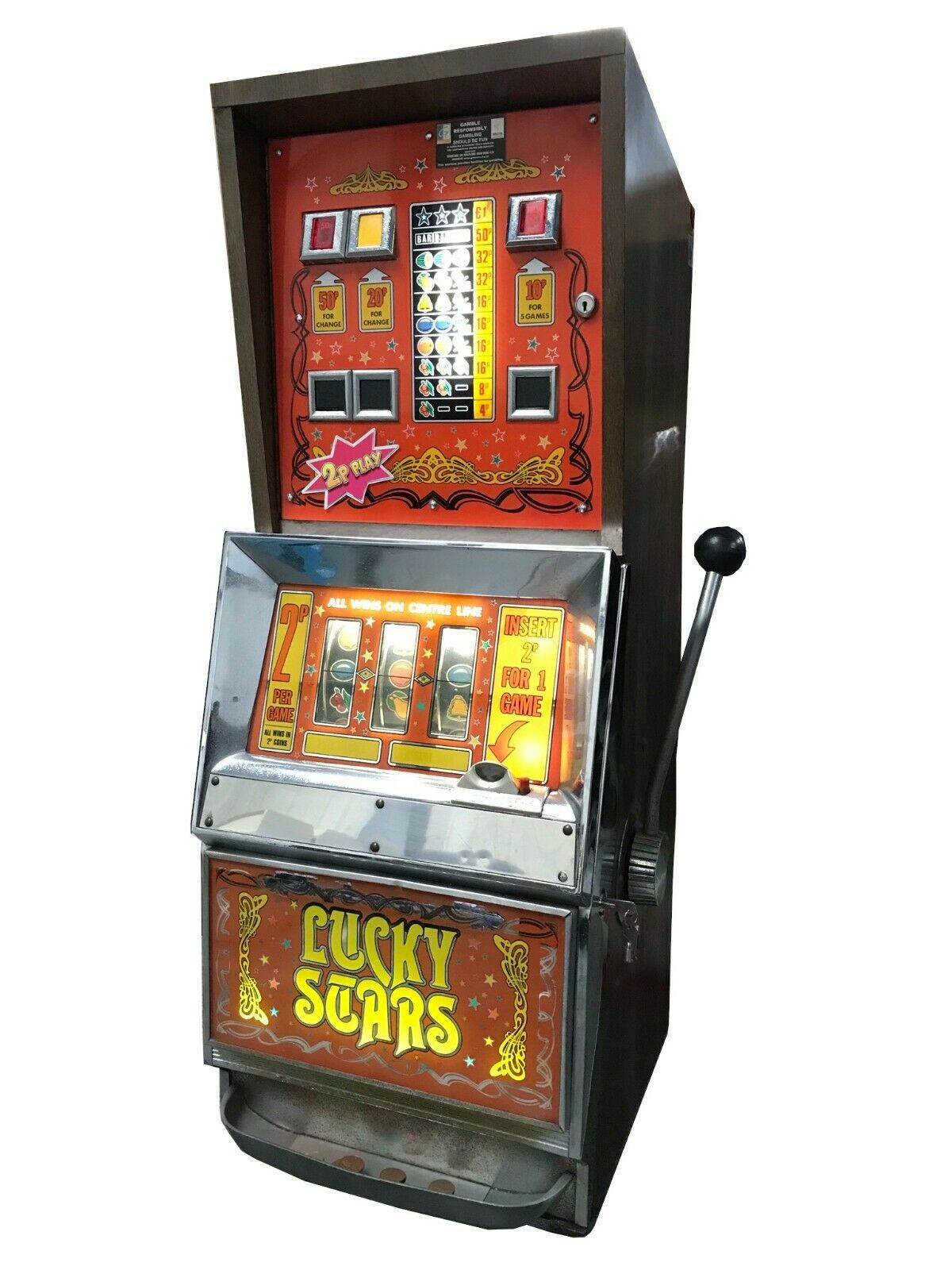 Lucky Stars One Armed Bandit Fruit Machine - Ready to Play - Games Room Home Bar
