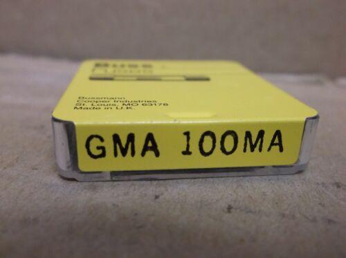 Box of 5 GMA-100M Bussmann Buss Cooper NEW Box 100mA Glass Fuses GMA100M