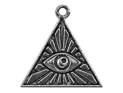 2 Egyptian Pyramid Eye Charms 3/4 inch (20 mm) Metal Antique Silver Color