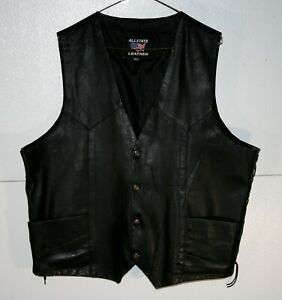 Allstate Genuine Leather Snap Front Lined Laced 3XL Black Motorcycle Vest