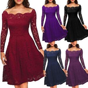 UK-Women-Ladies-Vintage-Lace-Swing-Skater-Party-Evening-Retro-Dress-Size-8-22