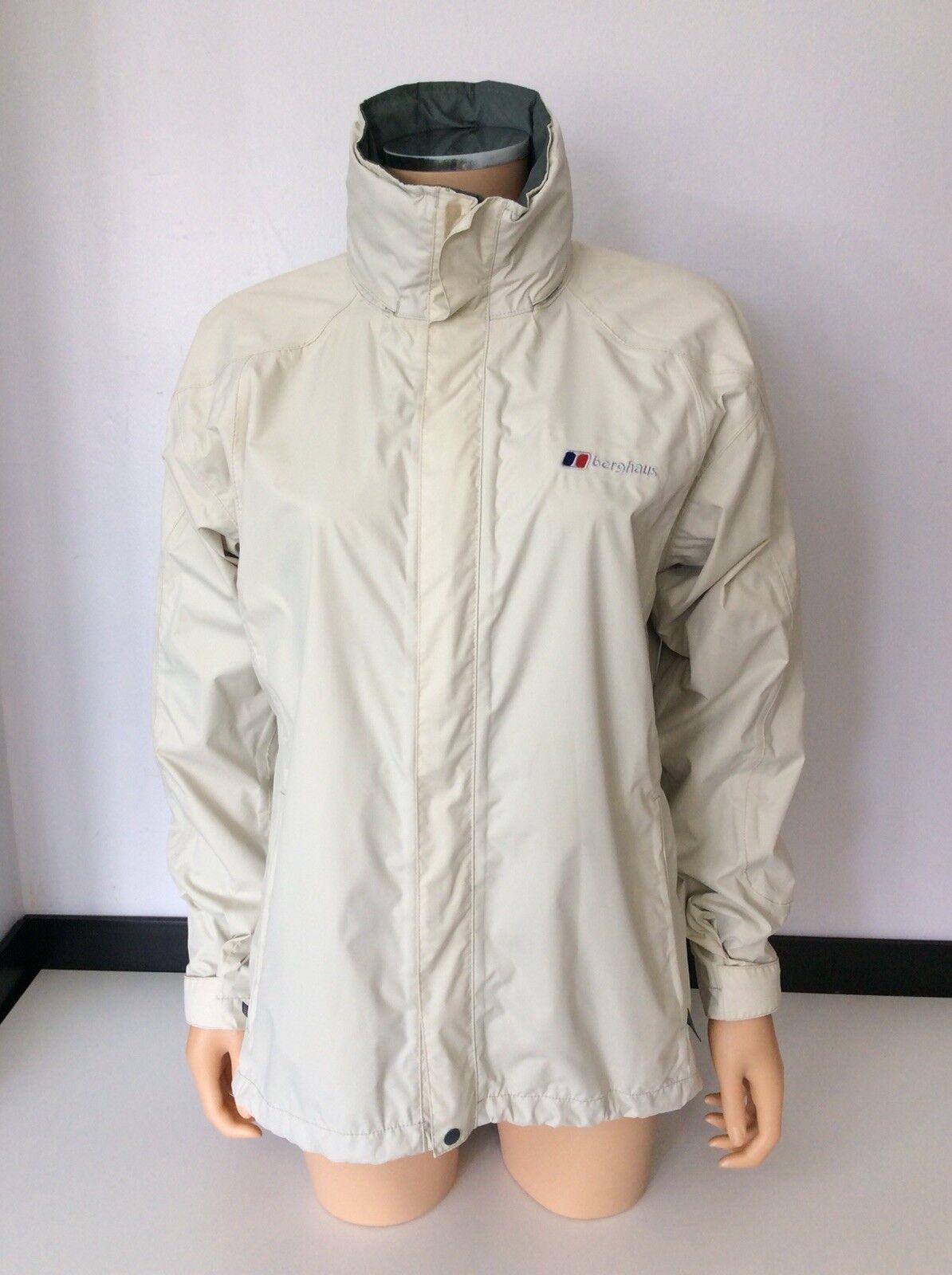 Berghaus Beige Waterproof Rain jacke Coat Größe 38 Uk 10 Immaculate  AQ2