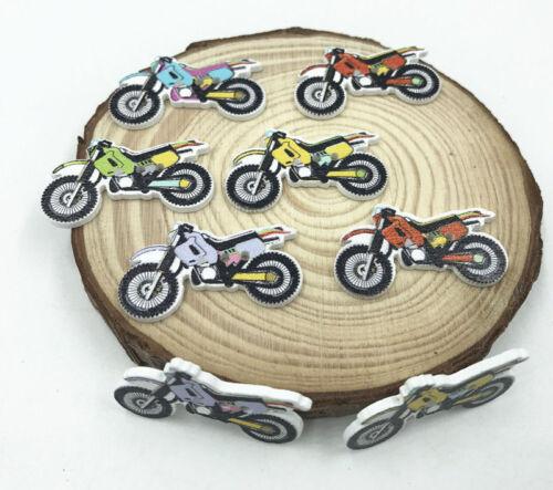 Color de la mezcla de los botones de motocicleta de Madera Ajuste Hágalo usted mismo de costura manualidades scrapbooking 32mm