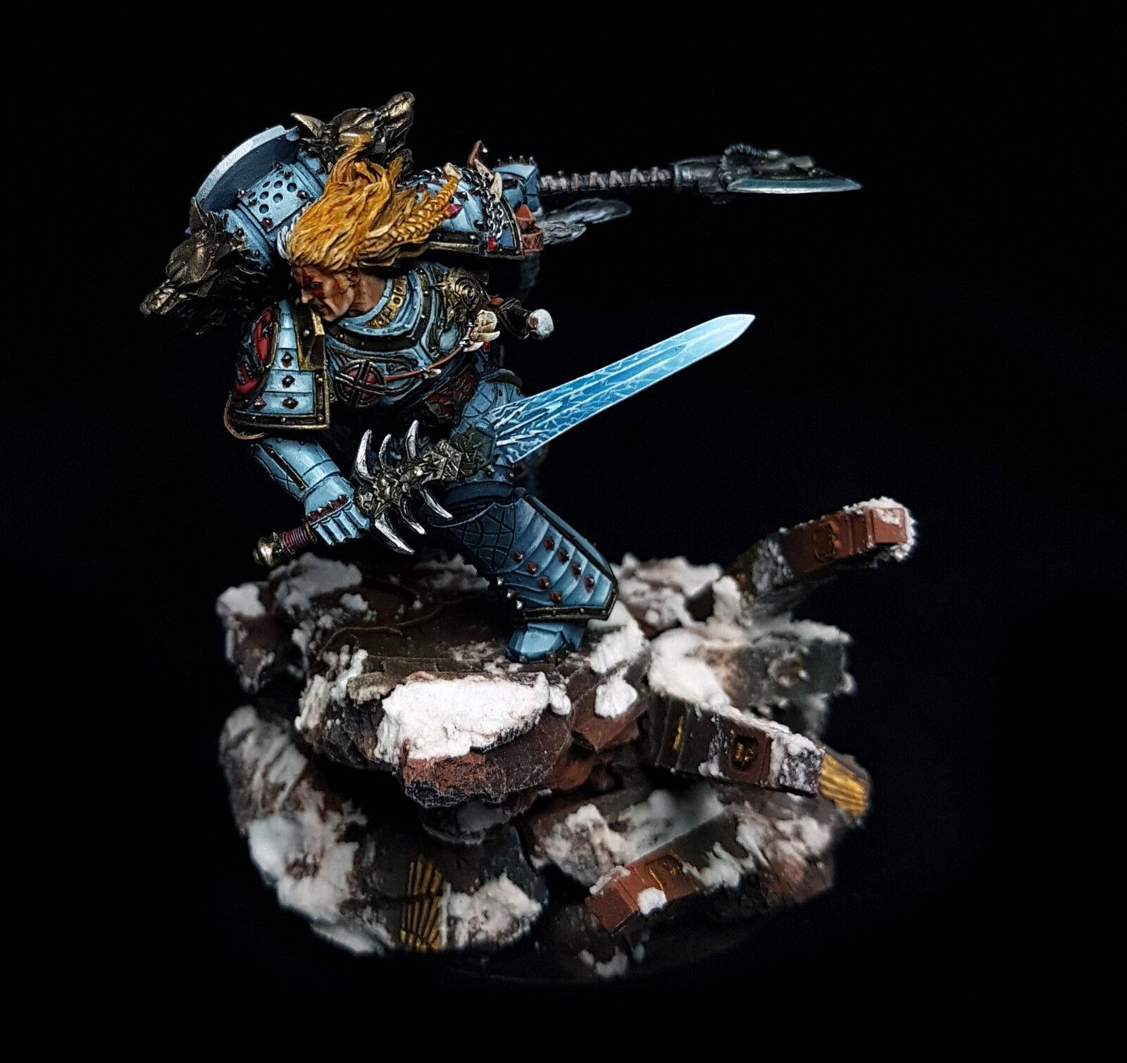 Leman Russ Primarch de espacio Lobos magnetizado base magníficamente pintado warhammer