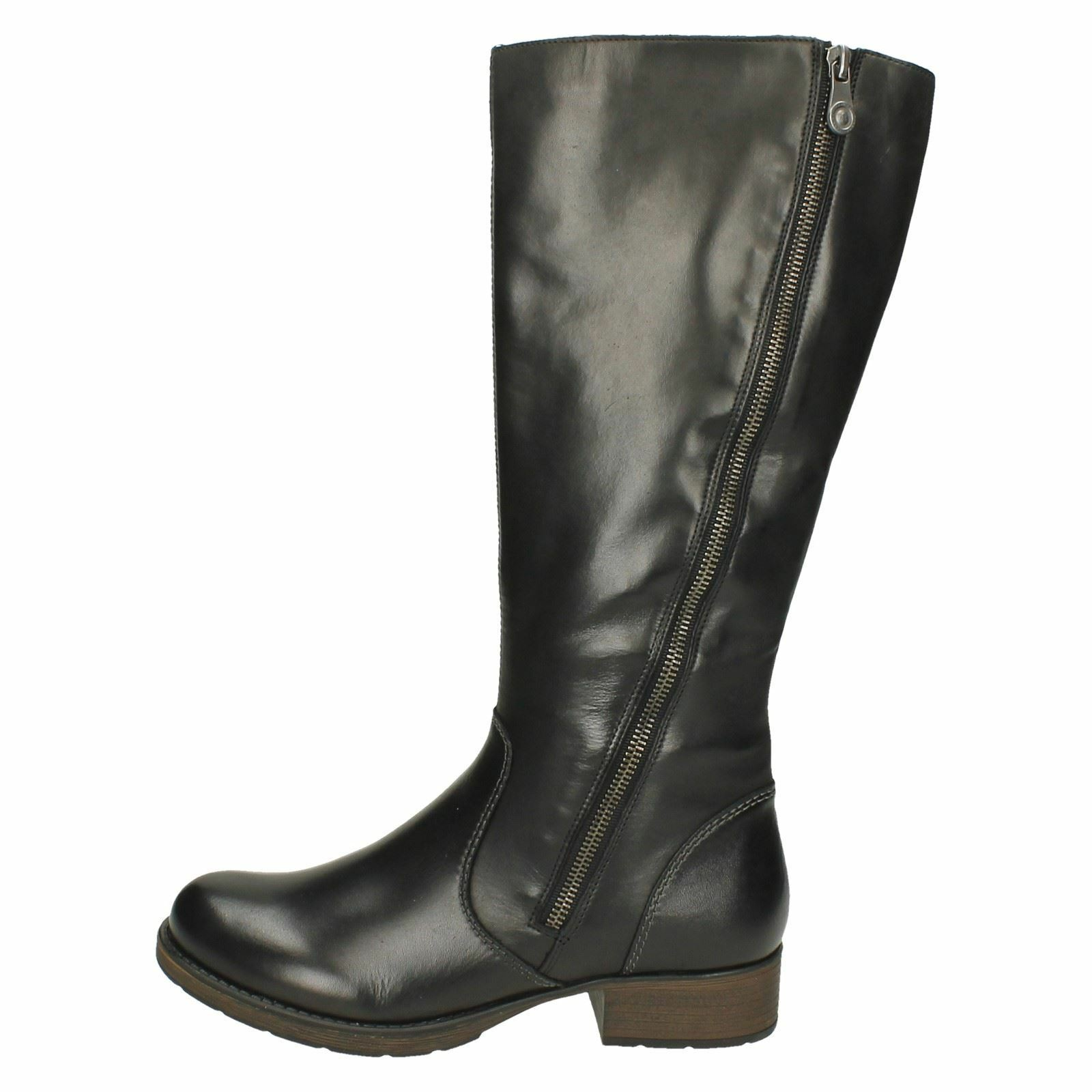 Z9581 LADIES RIEKER RIEKER RIEKER ZIP WARM LOW HEEL LEATHER CLASSIC RIDING STYLE LONG Stiefel f74712