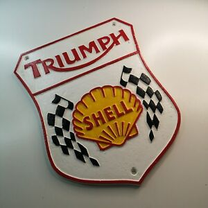 TRIUMPH / SHELL - HEAVY CAST IRON SIGN - THUNDERBIRD DAYTONA ROCKET TIGER