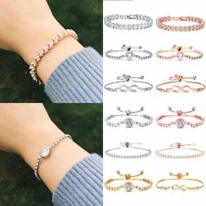 Women-Crystal-Zircon-Rhinestone-Bracelet-Bangle-Wedding-Bridal-Wristband-Jewelry