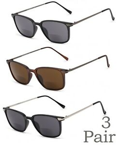 d08ca59741e2 Details about 1 or 3 Pair(s) Retro Square Frame Inner Bifocal Sunglasses  Reading Sunglasses