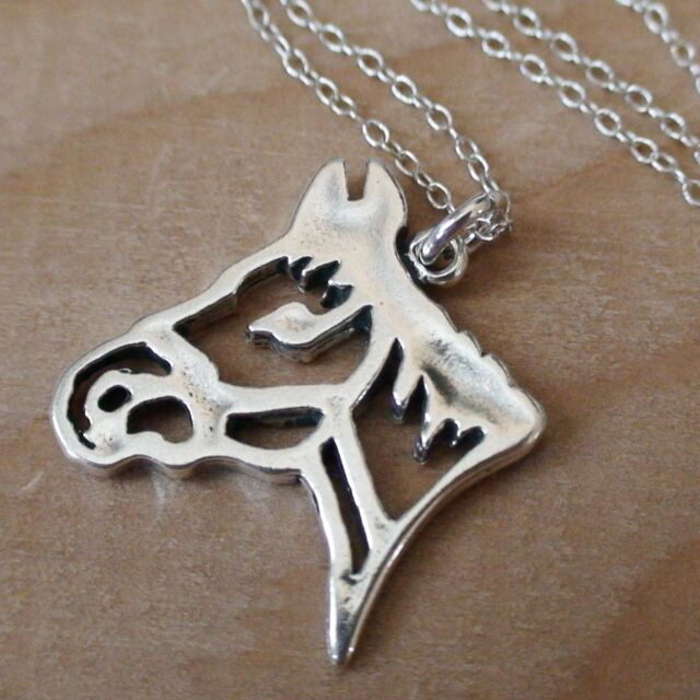 Horse Head Necklace - 925 Sterling Silver - Horse Charm Mare Equestrian Ride