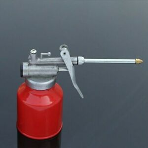 1-2X-250ml-Oil-Can-Die-Cast-Body-Head-With-Rigid-Spout-Thumb-Pump-Workshop-Oiler