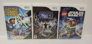 LEGO Star Wars III, Clone Wars Lightsabre, Unleashed Nintendo Wii 3 Game Lot