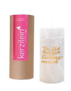 Kerzilein-Kerze-Rustik-Du-bist-mein-Lieblingsmensch-weiss-gold-H15-cm-mit-Spruch