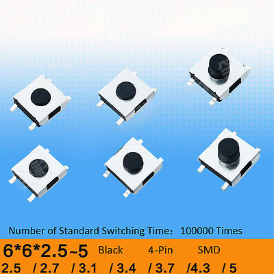 6x6x2.5 to 5mm SMD SMT Momentary Push Button Tactile Switch SPST 4-Pin Micro PCB