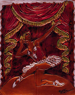 """""""BALLET SOLO"""" by Ruth Freeman INK ENGRAVED COPPER FOIL 8"""" X 10"""""""