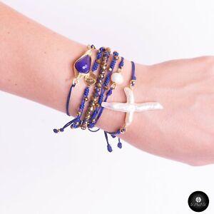 Kavak- Handmade Bracelet Blue Crystal Stone Gold plated Virgin Girl Blue World