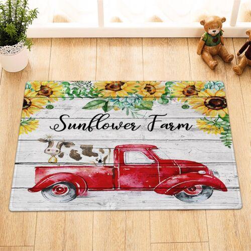 "72/"" Sunflower Farm Red Truck Cow Shower Curtain /& Hooks Bathroom Accessory Sets"