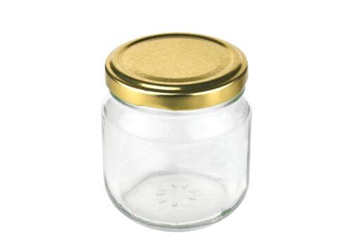 12 Rundgläser 212ml nieder gold Einmachgläser Marmeladengläser Einweck Glas