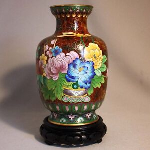 Antique-Vintage-8-034-CHINESE-CLOISONNE-VASE-Peonie-Flowers-Dogwood-w-Stand