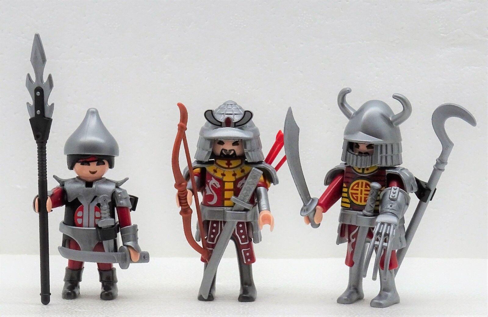 3 Pesado Bewaffnete Asia Caballero Samurai Playmobil Dragons Dragons Dragons en Original Lámina  n ° 1 en línea