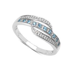 Plata-de-Ley-Topacio-Azul-amp-Diamante-Anillo-Eternidad-TAMANO-S-Regalo-Aniversario