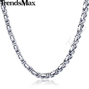 5MM-Byzantine-Box-Link-Silver-Tone-Stainless-Steel-Mens-Chain-Necklace-18-26inch