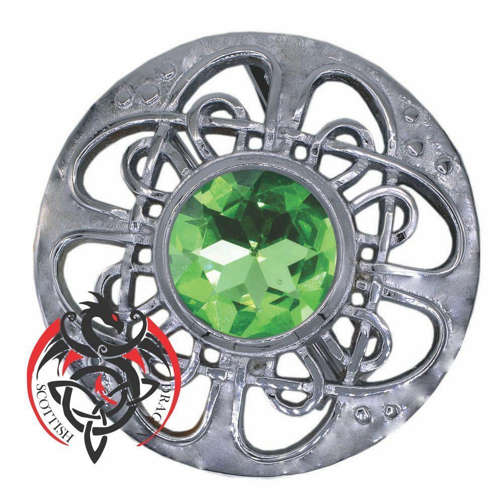 Scottish Kilt Fly Plaid Brooch Irish Green Stone Chrome Finish Pin & Brooches 3