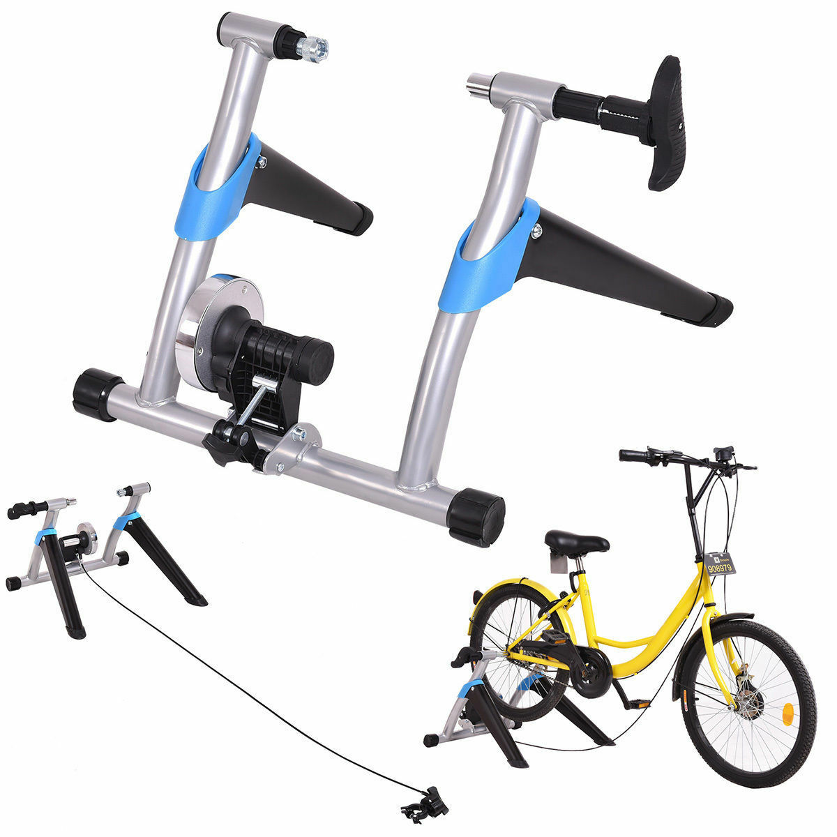 Portable Folding Stationary Exercise Bicycle Trainer Bike Stand 8 Level Magnetic