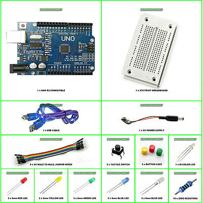 Starter Beginner Kit Set For Arduino UNO R3 Compatible Microcontroller