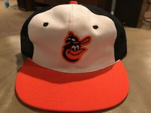 a77dccb6458 Image is loading Vintage-Baltimore-Orioles-MLB-Trucker-Mesh-Snapback-Hat-
