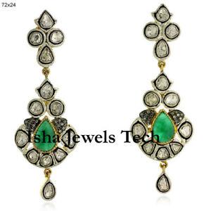 Natural Pave Diamond & Diamond Polki Gold & 925 Sterling Silver Earrings Jewelry