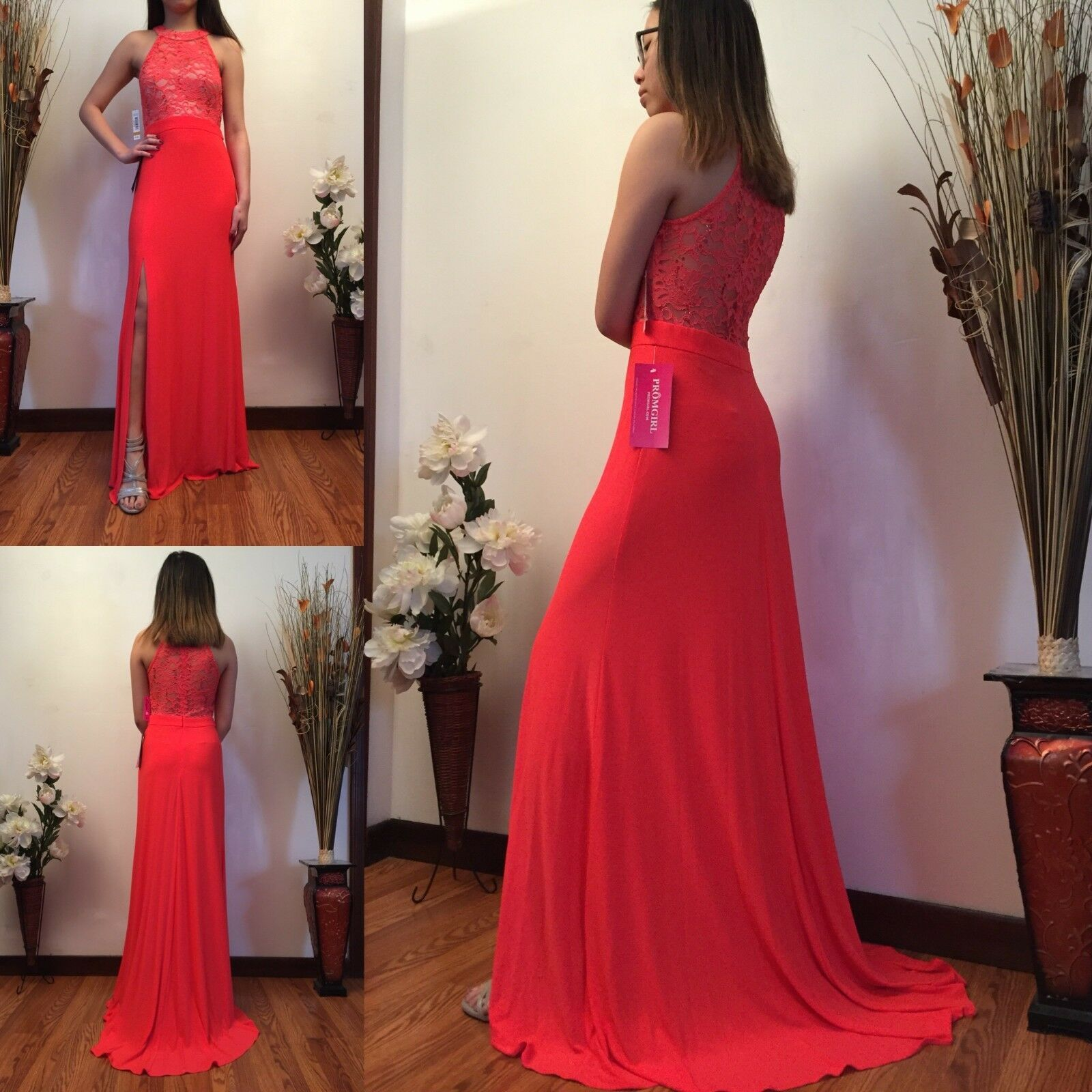 Watermelon Long Slit-Skirt Formal Dress with Lace