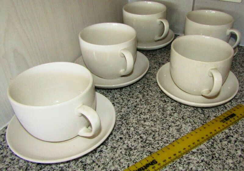 Large Soup Cups with Saucers x 5