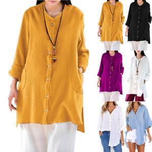 Femmes-Ete-Decontracte-Manches-Longues-en-Vrac-Bouffant-Tunique-Haut-T-Shirt