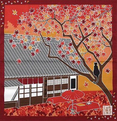 Japanese 12 Seasons in Kyoto Tama The Cat Furoshiki Scarf 'Momiji' Maple Leaves
